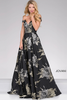 Black Off the Shoulder Flora Print Prom Jovani Ballgown 48361