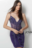Purple Beaded Plunging Neckline Jovani Short Dress 56031