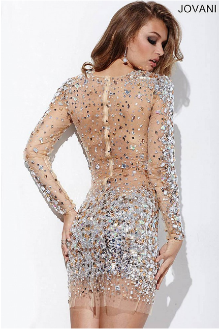 c063f1172f9 Long Sleeve Jeweled Sheer Jovani Short Dress 171300