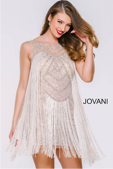 Sleeveless Fringe Jovani Cocktail Dress 41061