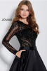 Black Beaded Bodice Long Sleeve Jovani Ballgown 46066