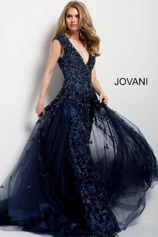 Black Gold High Criss Cross Neckline Pleated Backless Jovani Dress 54684