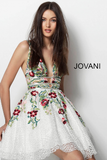 White Multi V Neck Floral Embroidered Jovani Homecoming Dress 61649