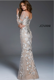 Champagne Embroidered Long Sleeve Jovani Evening Dress 55707