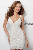 Ivory Lace Plunging Neckline Jovani Cocktail Dress 65576