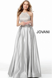 Slate Halter Neck Lace and Satin Jovani Evening Ballgown 59926