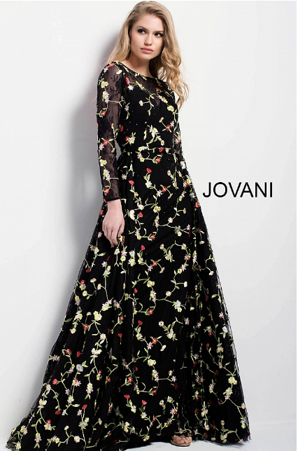 Black Multi Floral Embroidered Jovani Evening Ballgown 55267
