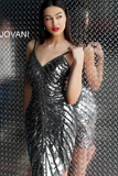 Gunmetal Fully Beaded Fitted V Neck Jovani Short Dress 62485