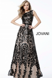 Black Nude Sequin Embellished A Line Jovani Evening Gown 55013