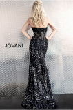 Black Silver Sheer Corset Bodice Strapless Jovani Evening Dress 62746