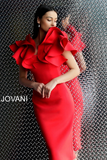 Tomato Off the Shoulder Ruffle Neckline Jovani Cocktail Dress 63890