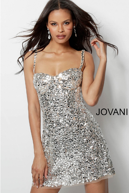 Silver Nude Crystal Embellished Sweetheart Neck Jovani Cocktail Dress 65970