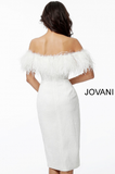 White Off the Shoulder Feather Neckline Knee Length Scuba Jovani Dress 67118