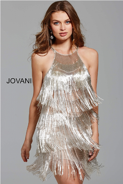 Silver High Neck Sleeveless Open Back Fringe Jovani Short Dress 61576