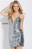 Gunmetal Spaghetti Straps Fitted Embellished Jovani Short Dress 58412