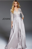 Cafe Lace Long Sleeve Bodice A Line Jovani Formal Gown 46964