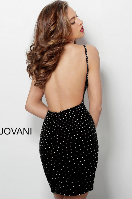 Black Embellished Velvet V Neck Jovani Short Dress 63560