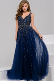 Navy V neck Beaded Tulle Jovani Dress 29085