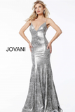 Silver Fitted Spaghetti Straps V Neck Jovani Evening Dress 60083