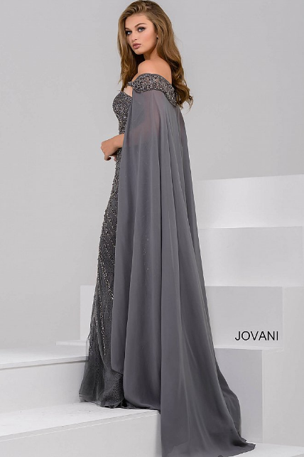 Charcoal off the Shoulder Beaded Sweetheart Neck Jovani Dress 45566