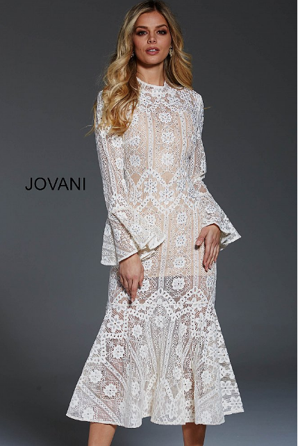 bdad54a6db2 Ivory Lace Fit and Flare High Neck Tea Length Jovani Formal Dress 55325