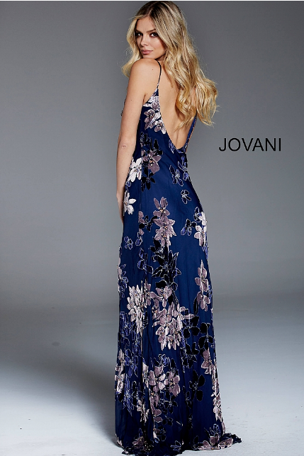 Navy Floral Spaghetti Straps Jovani Evening Dress 54505