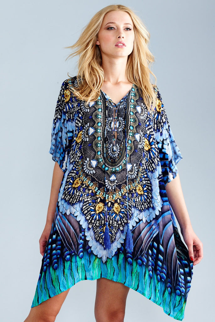 Blue Jay Luxury Short Kaftan Dress