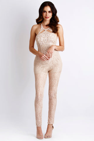 Gold Sleeveless Fringe Jovani Jumpsuit 67878