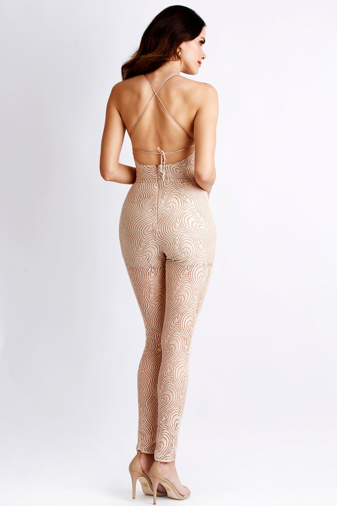 Sirena Blush Painted Baccio Couture Jumpsuit