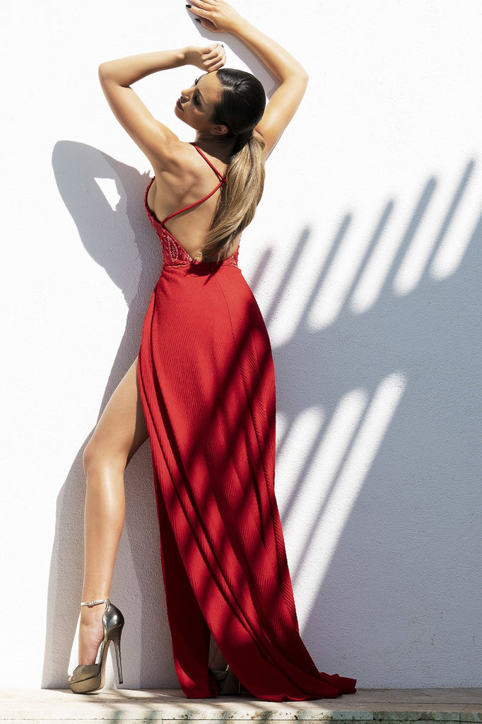Vanessa Red Spandex Jersey Baccio Couture Gown