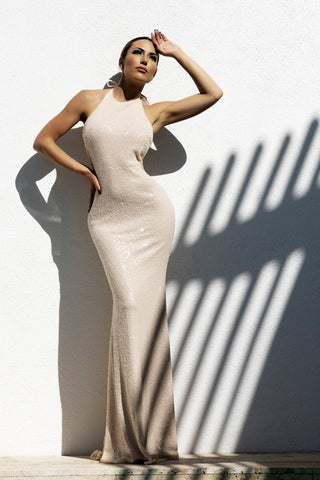 6993 NICOLE BAKTI V NECK BODYCON BACKLESS GOWN
