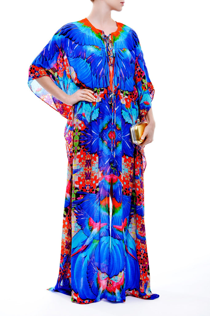 Macaw Blue Shahida Parides Kaftan Dress