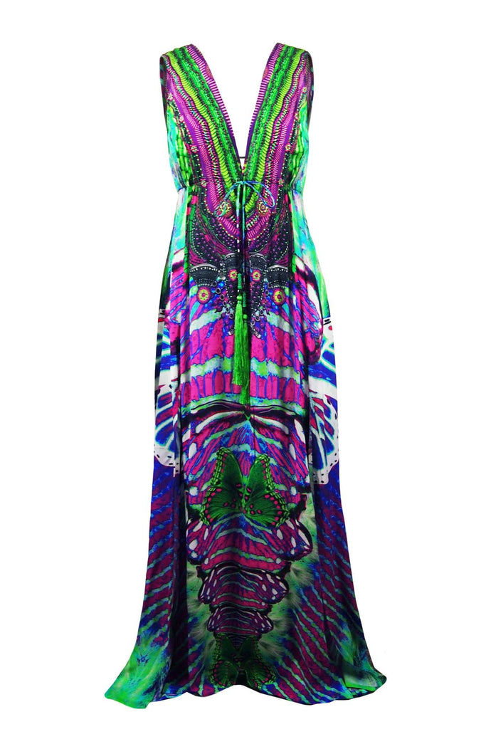 Purple Butterfly Parides Maxi Dress
