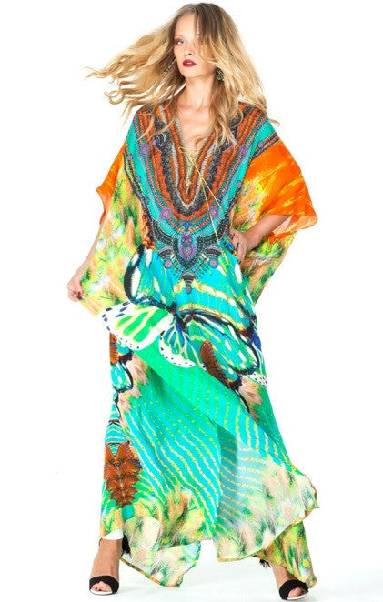 Aqua Avatar Lace Kaftan Long Parides Dress
