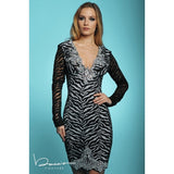 Elsa Black Silver Baccio Couture Lace Dress