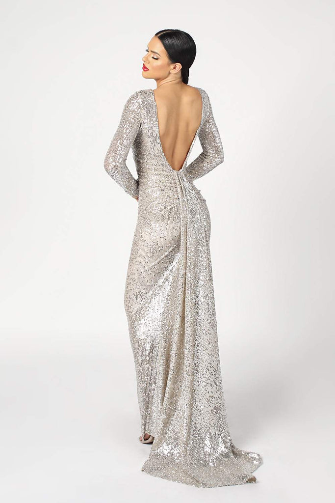 6904 NICOLE BAKTI LONG SLEEVE SEQUIN BACKLESS GOWN