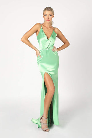 Faviana S10456 Long stretch satin dress with high neck, back strap detail, invisible zipper hook & eye