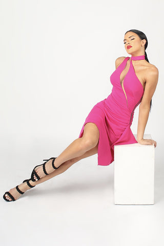 6990 NICOLE BAKTI STRAPLESS RUCHED BODYCON MINI DRESS