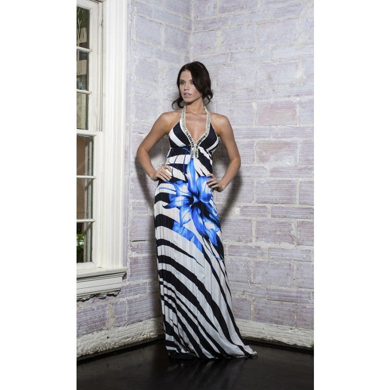 Ivana Printed Silk Long Dress Baccio Couture