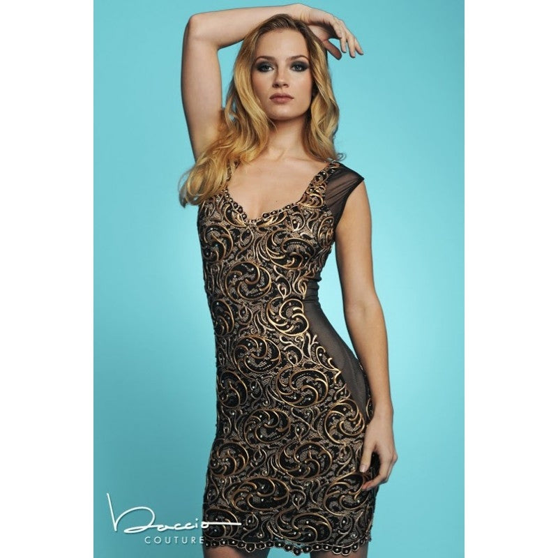 Janet Black Gold Painted Baccio Couture Dress