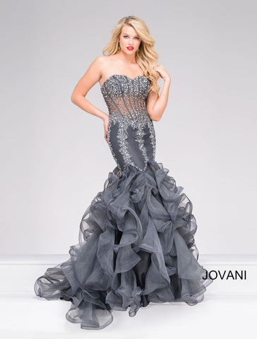 JOVANI 49427 HALTER FLORAL DRESS