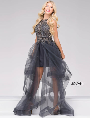 JOVANI 34010 STRAPLESS FUCHSIA DRESS