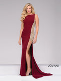 JOVANI 48852 WINE BEADED DRESS