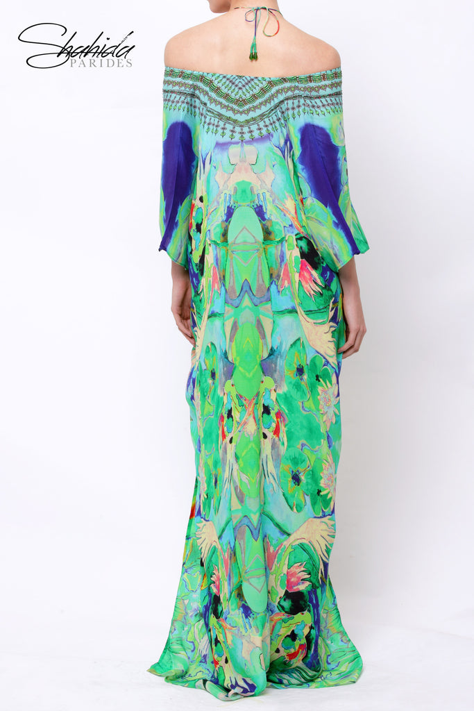 Mandarin Green Envy Shahida Parides Kaftan Dress