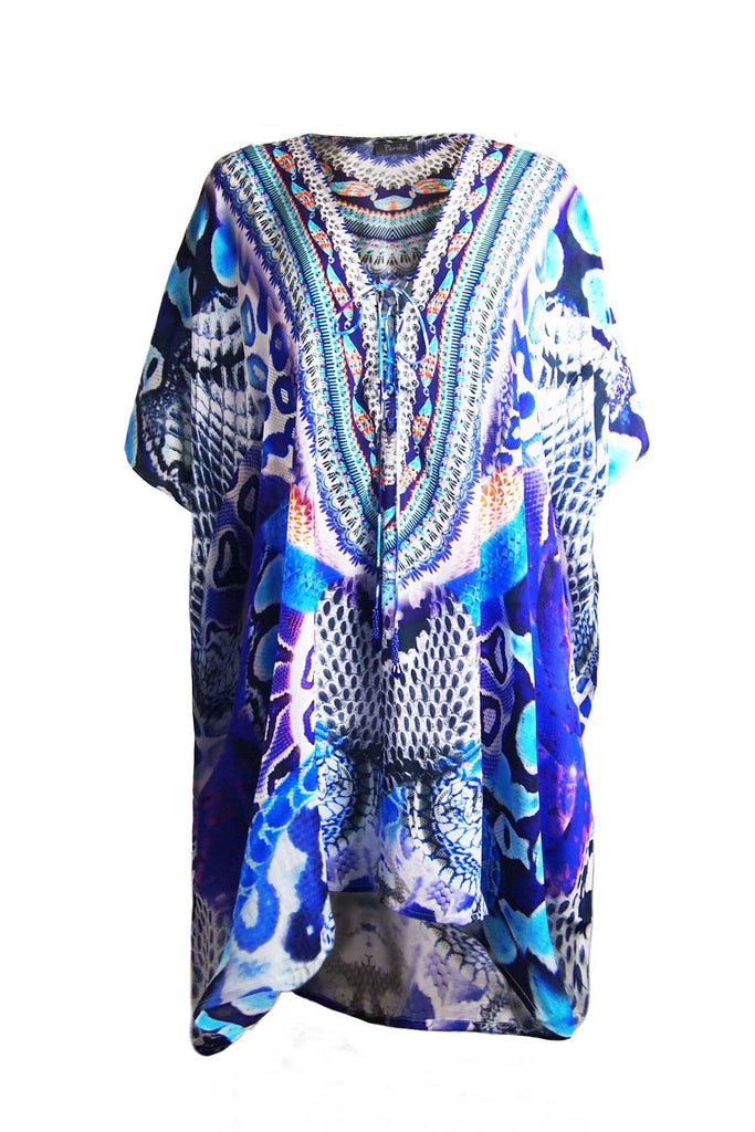 Python Blue Luxury Short Kaftan Dress