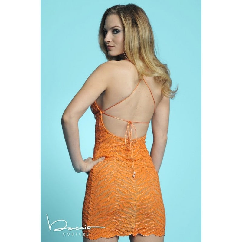 Sally Orange Painted Baccio Couture Dress