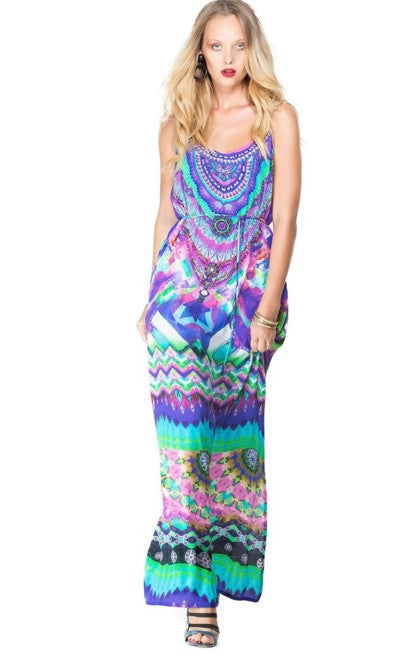 Sarina Blue Maxi Dress Parides