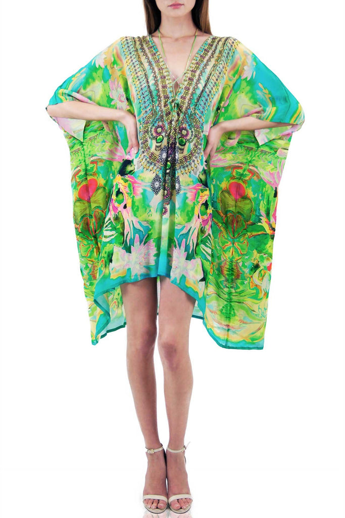 Mandarin Green Envy Parides Medium Kaftan