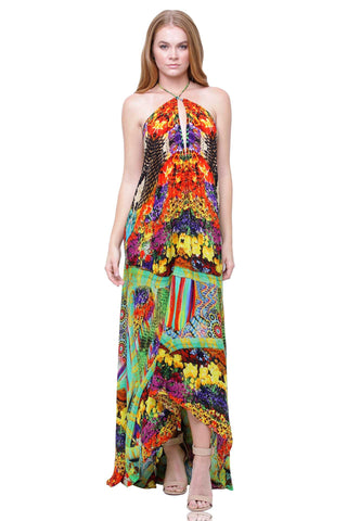 MULTI-COLOR STRIPE RAINBOW MAXI DRESS WORN BY PARIS HILTON