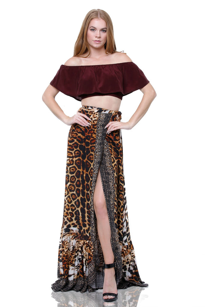 LEOPARD PRINT MAXI SKIRT WITH RUFFLES AS SEEN ON KYLE RICHARDS